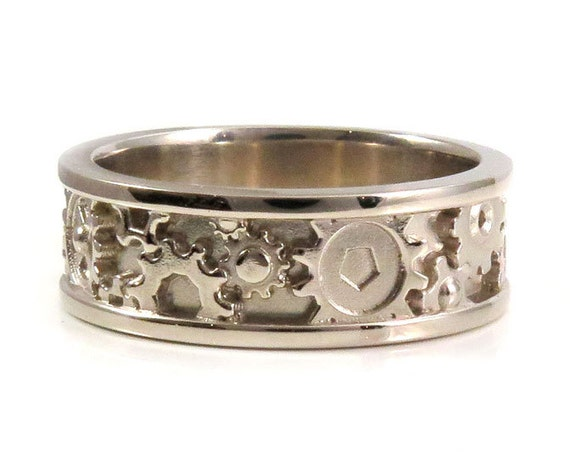 Mens Modern White Gold Wedding Band - Steampunk Gear Ring