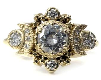 Diamond Moon Ring Cosmos Boho Engagement - Moissanite or Diamonds Custom Wedding Ring