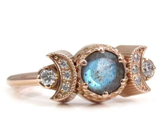 Hecate Moon Engagement Ring - Labradorite & White Diamonds - Rose Gold Celestial Ring