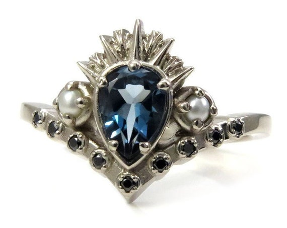 Sea Witch Engagement Ring - Ursula - London Blue Topaz with Seed Pearls and Black Diamonds