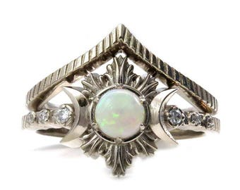 Opal Moon Fire Engagement Ring Set - Triple Moon Goddess Celestial Wedding Jewelry