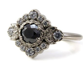 Black and White Diamond Engagement Ring - Triple Moon Goddess Boho Wedding