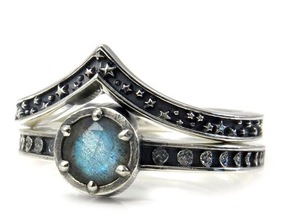 Labradorite Celestial Engagement Ring Set - Sterling Silver Moon Phase and Stardust Wedding Rings