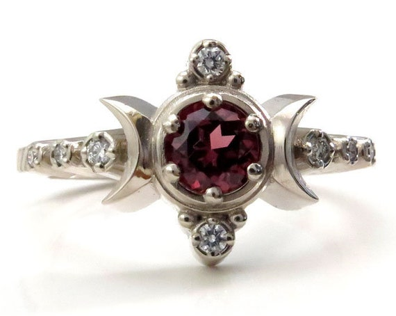 Malaya Garnet Compass Moon Engagement Ring with Diamonds - 14k Palladium White Gold