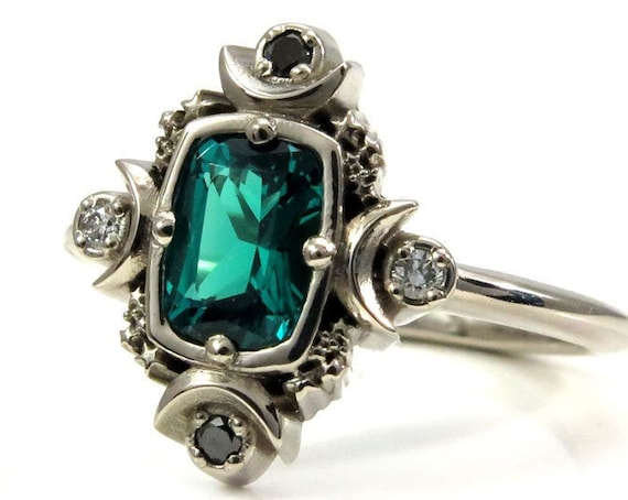 Artemis Moon Engagement Ring with Chatham Emerald Cushion and Black & White Diamonds - Lunar Engagement