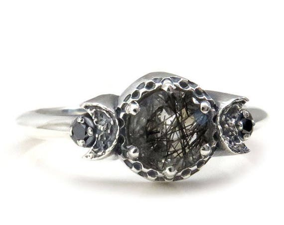 Black Included Quartz Triple Moon Goddess Engagement Ring - Sterling Silver