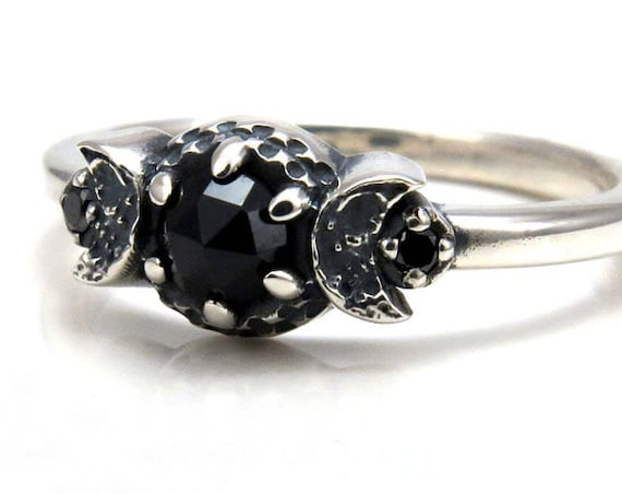 New Moon Crescent Moon Phase Ring - Black Diamonds and Black Spinel - Gothic Engagement Ring