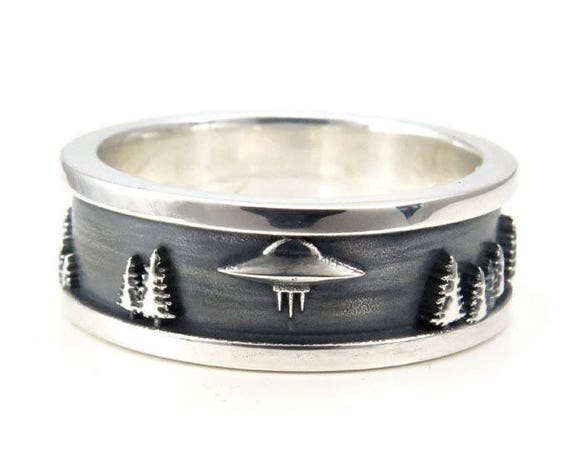 Mens Forest Abduction UFO Ring - Sterling Silver - Sci-Fi Wedding Band