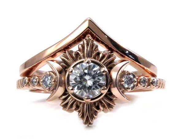 Moon Goddess Engagement Ring Set - Rose Gold with Diamond or Moissanite Center Stone - Chevron Wedding Band