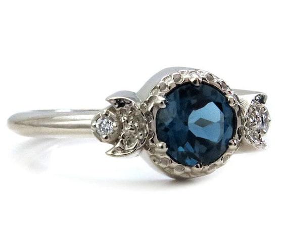 London Blue Topaz Engagement Ring - Moon Engagement Ring - 14k Gold