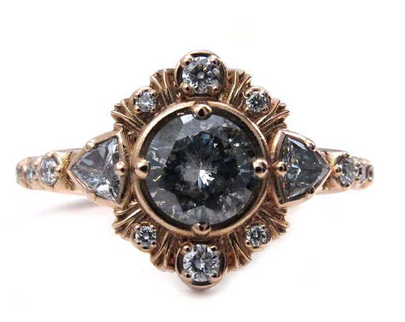 Grey Galaxy Diamond Engagement Ring with Diamond Trillions and Rose Gold Fringe