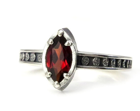 Garnet Marquise Moon Phase Sterling Silver Solitaire Engagement Ring - Choose your Center Stone
