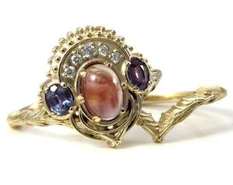 Boleyn Set - Oregon Sunstone and Lab Alexandrite Tudor Styled Engagement Ring Set - Victorian Wedding Ring Set