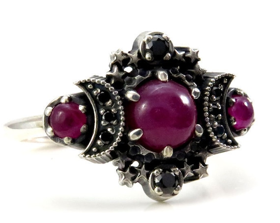 Ready to Ship Size 6 - 8 - Ruby Cabochon Cosmos Moon and Star Ring - Sterling Silver with Black Diamonds - Pink Celestial Ring Set