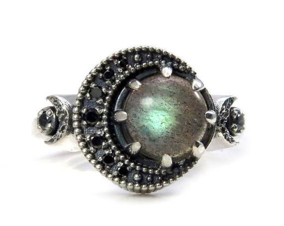 Labradorite and Black Diamond Moon Ring - Sterling Silver Fine Bohemian Jewelry