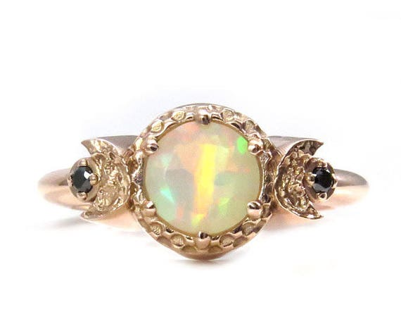 Opal Triple Moon Ring - Moon Goddess Diamond and Gold Moon Phase Engagement Ring