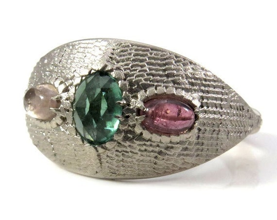 Ready to Ship Size 6 - 8 Mother of Dragons Ring - Tourmaline Dragon Eggs with Scales and Tails - 14k Palladium White Gold