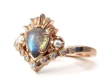 Ursula the Sea Witch Labradorite Engagement Ring with Seed Pearls and Diamonds
