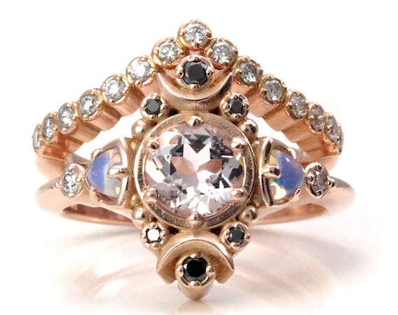 Moon Empress Engagement Ring Set - Morganite with Opalite Trillions and Black and White Diamonds