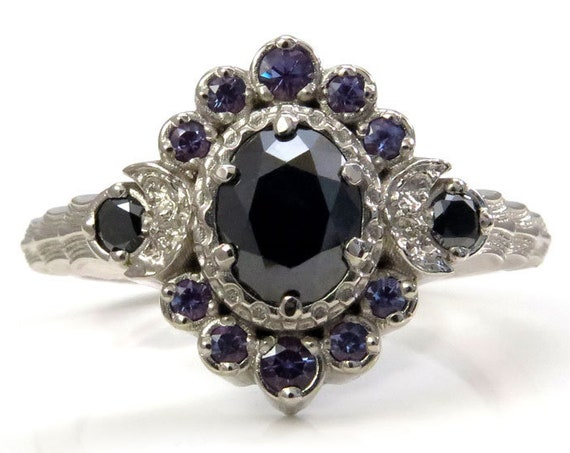 Moon Wave Oval Halo Celestial Engagement Ring - Black Diamonds with Chatham Alexandrite Accents