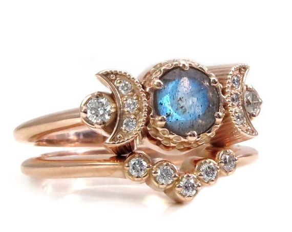 Hecate Moon Engagement Ring Set - Labradorite & White Diamonds with Diamond Chevron Wedding Band