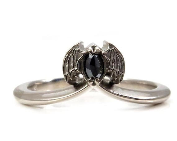 Black Diamond Bat Stacking Ring - 14k Gold Gothic Wedding Band
