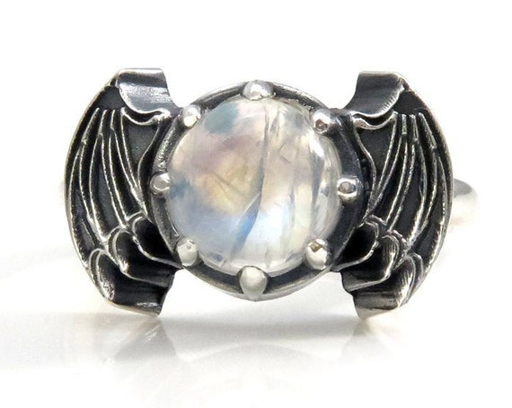 Rainbow Moonstone Bat Wing Gothic Engagement Ring - Sterling Silver Jewelry