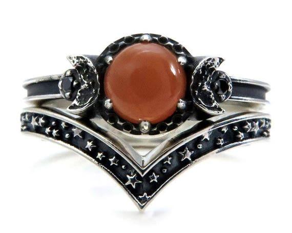 Peach Moonstone Moon Ring Set - Black Diamonds and Stardust Chevron