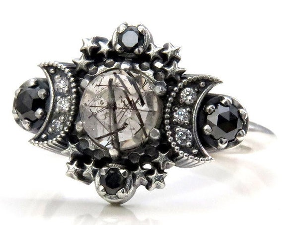 Rose Cut Black Rutile Quartz Cosmos Moon Engagement Ring Set - Sterling Silver with Black & White Diamonds