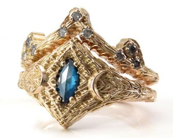 Ready to Ship Size 6 - 8 - Rose Cut Irradiated Blue Diamond Marquise Forest Engement Ring with Mossy Knoll Chevron - 14k Rose Gold