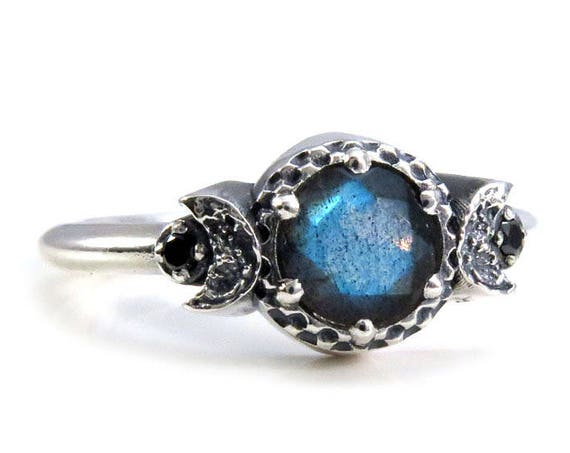 Labradorite and Black Diamond Triple Moon Goddess Ring - Sterling Silver Engagement