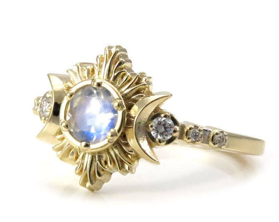 Moonstone Engagement Ring - Diamond Celestial Moon Phase Moon Ring