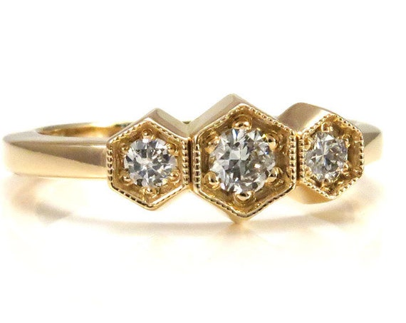 3 Diamond Art Deco Hexagon Ring - 14k Yellow Gold Engagement
