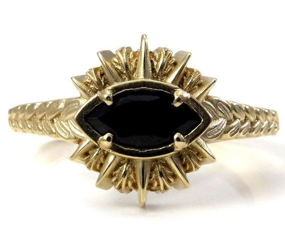 Sage Burning All Seeing Eye Ring - Marquise Gemstone in 14k Gold