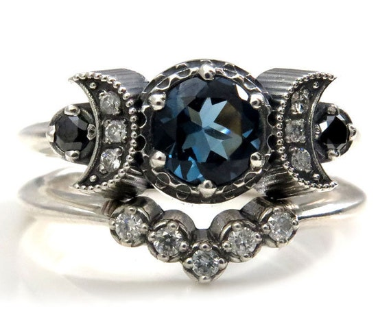 Hecate Triple Moon Engagement Ring Set - Pick Your Center Stone - Sterling Silver with Silver Galaxy and Black Diamonds