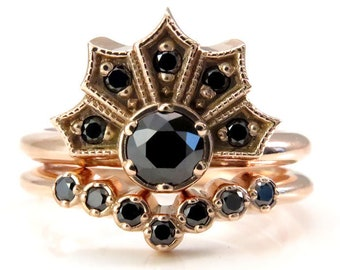 Ready to Ship Size 4.5 - 6.5 - Gothic Art Deco Engagement Ring Set - Black Diamond Crown Ring and Chevron Wedding Band - 14k Rose Gold