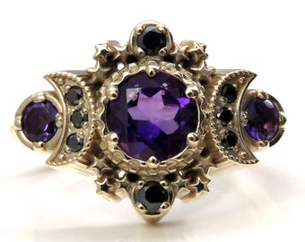 Amethyst and Black Diamond Cosmos Engagement Ring - Gothic Engagement Fine Jewelry