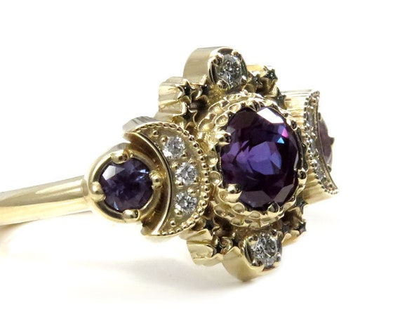 Chatham Alexandrite Cosmos Lunar Engagement Ring - 14k Yellow Gold and Diamonds