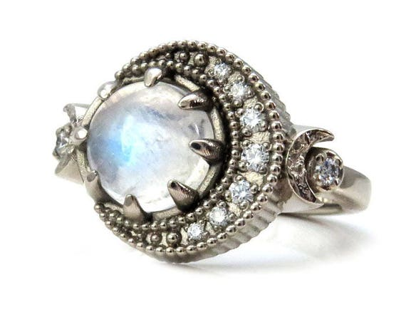 Full Moon Diamond Crescent and Moonstone Celestial Engagement Ring - 14k Yellow, Rose or Palladium White Gold