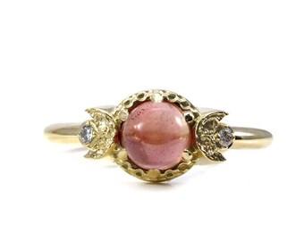 Pink Oregon Sunstone Gold Moon Ring with Tiny Diamonds - Alternative Engagement Ring