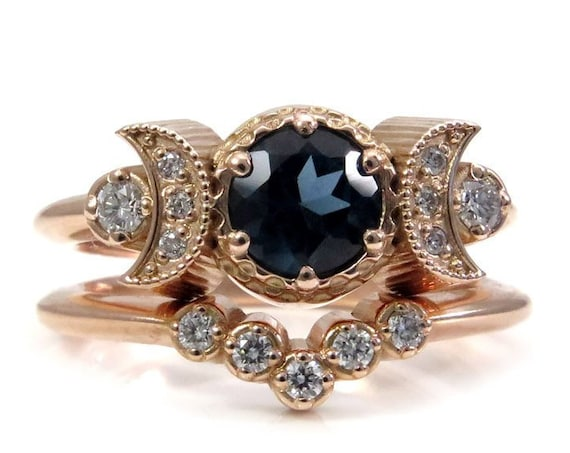 Hecate Moon Engagement Ring Set - London Blue Topaz & White Diamonds with Diamond Chevron Wedding Band
