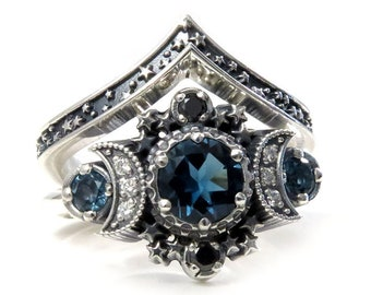 London Blue Topaz Cosmos Moon Engagement Ring Set Triple Moon Goddess Silver Ring with Stardust Chevron Wedding Band