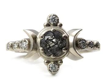 Compass Moon Engagement Ring - Rutile Quartz with Diamonds - 14k Palladium White Gold
