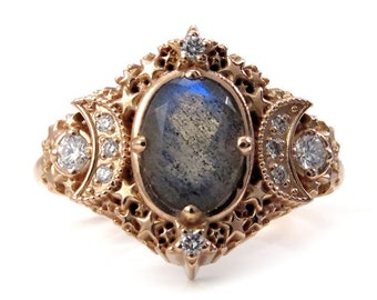 Oval Starseed Engagement Ring - Labradorite and Diamonds - Recycled Gold Jewelry