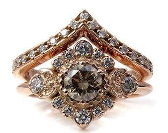 Champagne and White Diamond Engagement Ring Set - Moon Halo Boho Rose Gold