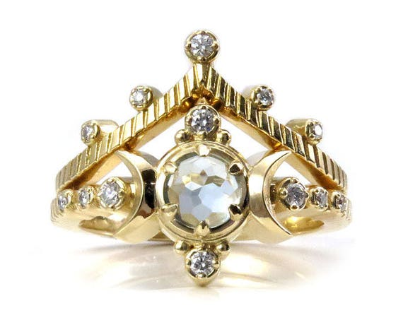 Boho Moon Ring Engagement Set - Light Blue Topaz with Diamonds