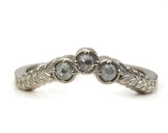 Ready to Ship Size 6 - 8 - Grey Rose Cut Diamond Curved Sage Leaf Wedding Band - 14k Palladium White Gold Botanical Jewelry