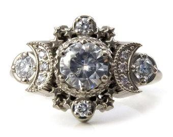 f5866dd932c Diamond Moon Ring Cosmos Boho Engagement - Moissanite or Diamonds Custom  Wedding Ring