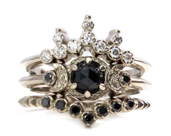 Night Queen Engagement Ring Set - Gothic Boho Black and White Diamonds Stacking Ring Set