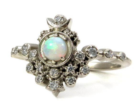 Moon Witch Engagement Ring - Australian Opal and Diamonds with Stardust
